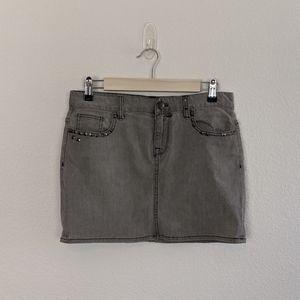 J. Crew Grey Wash Studded Denim Mini Skirt